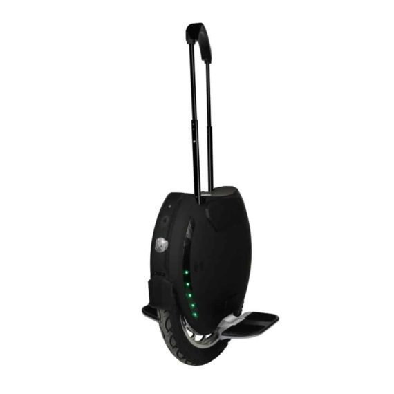 King Song KS-18 black electric unicycle front angle with telescopic handle