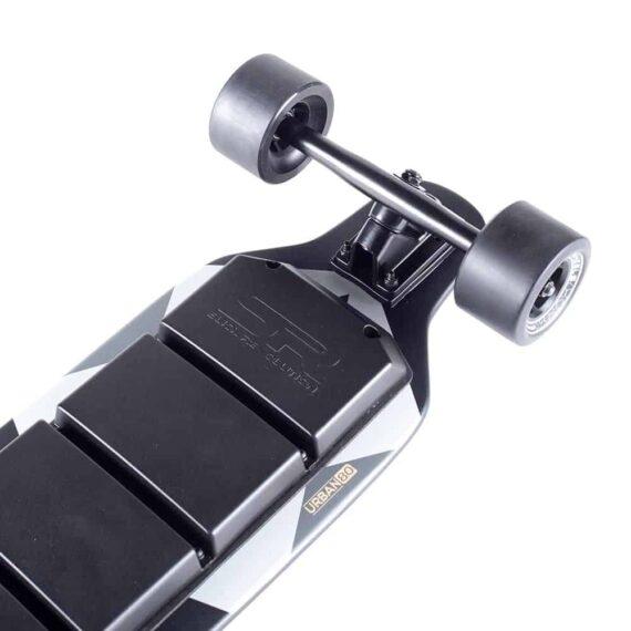 Urban 80 electric skateboard front underside slick wheels