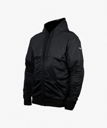 Lazyrolling Armored 2021 Black on Black Performance Hoodie front angle