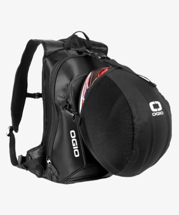 OGIO No Drag Mach LH Backpack Stealth with helmet front